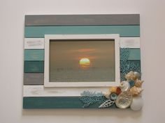 "Seashell Photo Frame, Aqua Shell Picture Frame, Beach Decor, Beach Frame, Nautical Decor, 5""x7"" Frame, Coastal Decor, Shabby Chic, Wedding"