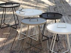 This taupe aluminium side table from Cane-line and Strand+Hvass offers modern outdoor furniture nice enough for indoor or outdoor use-an outdoor side table. Outdoor Side Table, Outdoor Lounge, Outdoor Living, Outdoor Decor, Side Tables, Small Tables, Furniture Sale, Luxury Furniture, Garden Furniture