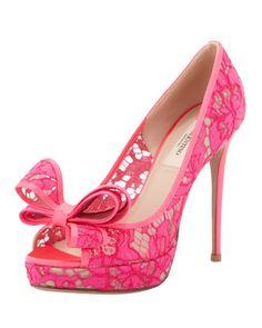 Peep-Toe Lace Bow Pump, Pink by Valentino at Bergdorf Goodman.