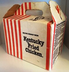 First decorating for a Ward picnic . I filled them with dried whitetop and red and white checkered bow lips on wire Kentucky Chicken, Kentucky Fried, Chicken Boxes, Vintage Restaurant, Kiwiana, Vintage Packaging, Retro Recipes, I Remember When, The Good Old Days