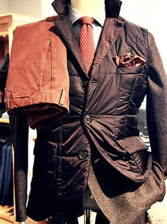 I love this jacket paired with burnt orange pants and tie.