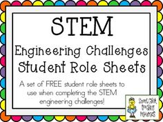 A FREE set of five student role sheets designed for use during the STEM Engineering Challenges that I have created! I post these STEM Challenge . 4th Grade Science, Stem Science, Elementary Science, Science Classroom, Teaching Science, Science Ideas, Engineering Challenges, Stem Challenges, Stem School