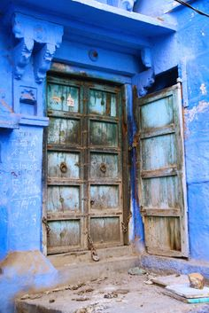 beautiful blue and old shabby doors