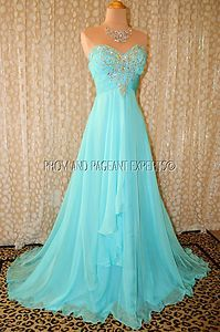 Ice Blue Prom Pageant Evening Formal Wedding Long Ball Gown Dress 2 | eBay