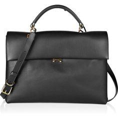 Marni Leather tote (2.730 BRL) ❤ liked on Polyvore featuring bags, handbags, tote bags, bolsas, purses, borse, black, handbags purses, genuine leather handbags and handbags totes