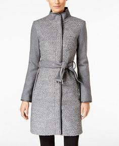 Vince Camuto Faux-Leather-Trim Bouclé Coat - Woolens to Wow - Women - Macy's