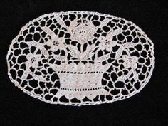Antique Figural Italian Lace Insert ~ Bobbin Needle Lace Floral Oval Basket ~ nice Vintage Touch  $15.00