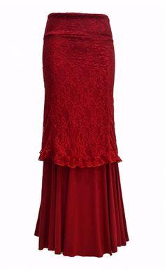 Dance skirts for performance and reharsal Flamenco Costume, Flamenco Skirt, Knit Skirt, Lace Skirt, Boho Fashion, Fashion Dresses, Moda Boho, Dark Blue Color, How To Look Classy