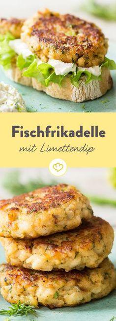 Schmeckt nicht nur waschechten Hanseaten: Die Fischfrikadelle aus zartem Zanderfilet kommt mit einem frischen Limetten-Dip auf die Teller. (Cooked Shrimp Recipes)