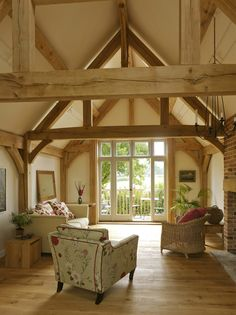 Since 1980 Border Oak have specialised in the design and construction of exceptional bespoke oak framed buildings across the UK and abroad Barn Conversion Interiors, Oak Framed Buildings, Metal Buildings, Border Oak, Oak Frame House, Barn Living, Living Room, Timber Frame Homes, Cabana