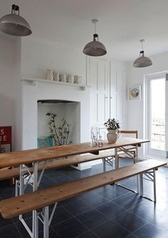 Is there anything a Biergarten table cannot do? 5 Quick Fixes: The Versatile Biergarten Table : Remodelista The Design Files, Dining Area, Dining Table, Dining Room, Table Bench, Diy Bench, Table Legs, House And Home Magazine, Home Kitchens