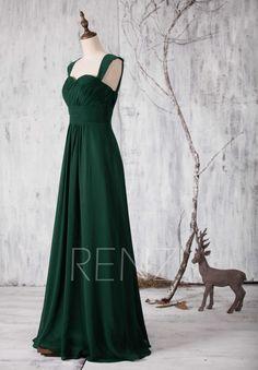 2016 Dark Green Bridesmaid dress Long Sweetheart par RenzRags