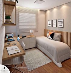 Home Office Bedroom, Small Room Bedroom, Home Decor Bedroom, Modern Bedroom, Home Office Layouts, Home Office Design, Teen Bedroom Designs, Small Room Design, Home Decor Furniture