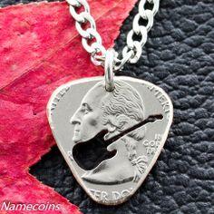 Quarter Guitar Pick Necklace – NameCoins Guitar Pick Necklace, Ring Necklace, Dog Tag Necklace, Custom Guitar Picks, Metal Working, Bracelets, Necklaces, Great Gifts, Music Instruments