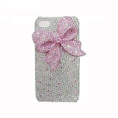 Handmade Hard Case for Samsung Galaxy S3, S3 Mini, S4, S4 Mini, Note 2 & Note 3: Bling elegant pink bow (customized are welcome)
