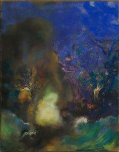 Odilon Redon, Mujer en una arcada gótica: Mujer con flores, 1905. Óleo sobre lienzo. Van Gogh Museum.