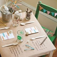 "Set a Special Place for Kids | Cover a small table with butcher paper. Draw a circle where each plate will go. Write a ""to-do"" list next to each spot, and provide crayons or colored pencils so pint-size diners can mark off items as they eat. ♥Follow us♥"