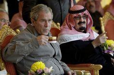 Saudi Arabia's King Abdullah drinking tea with W.