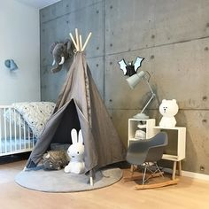 How cute is this kid's room! Brown Bear lamp and Miffy are all available at www.istome.co.uk