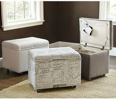 File Storage Ottoman - traditional - desk accessories - Ballard Designs
