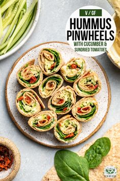 These Easy Hummus Pinwheels are stuffed with spinach cucumber and sun-dried tomatoes for a hearty healthy filling and plant-based appetizer or lunch Vegan Appetizers, Appetizer Recipes, Dinner Recipes, Lunch Recipes, Vegetarian Recipes, Healthy Recipes, Vegetarian Sandwiches, Going Vegetarian, Vegetarian Breakfast