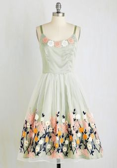 Ethereal Anthem Dress - Woven, Mixed Media, Long, Mint, Solid, Embroidery, Daytime Party, Pastel, Fit & Flare, Sleeveless, Spring, Better, Top Rated