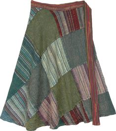 This stylish all season comfortable skirt with shades that remind you of a dewy tropical forest - patches of green, red, purple, brown make you look fresh and creates a tasteful contrast. Part of our unique collection of patchwork skirts in different colors that are easy to wear and offer flexible sizing. #tlb #Patchwork #WrapAroundSkirt #professortrelawneyskirt
