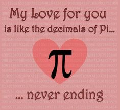A Valentine card for those who's love is nerdy. ^^' Happy VD peoples PS There should hopefully be more nerdy cards to come. pI Love You Nerdy Valentines, My Funny Valentine, Valentine Day Cards, Geeks, Cute Love, Love You, Tarjetas Diy, Math Quotes, Happy Pi Day