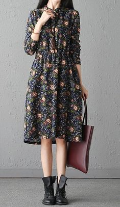 Women loose fit over size retro flower pocket dress tunic long sleeve fashion #Unbranded #dress #Casual
