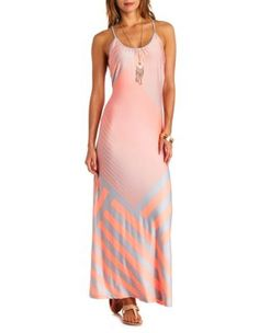 neon mixed stripe maxi dress.