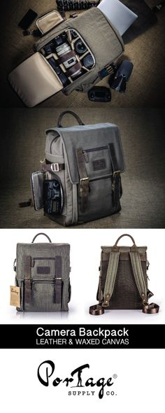 """The Kenora"" - Waxed Canvas and Leather Camera Bag by Portage Supply Co."