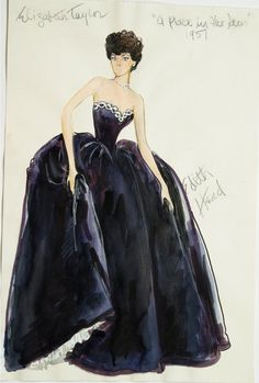 Edith Head sketch for Elizabeth Taylor in A Place in the Sun (1951)