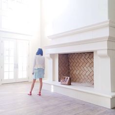 Chevron fireplace and White House - Rach Parcell - Pink Peonies