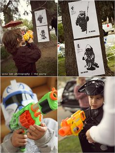 Star Wars party  Target practice. Could alternate by putting target on tree, fill water gun w/paint. And shoot