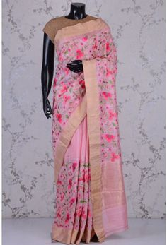 Pure Tussar Embroidery-Tulip Pink-Resham Thread Work-WK1189 Floral Print Sarees, Printed Sarees, Floral Prints, Indian Dresses, Indian Outfits, Pink Saree, Thread Work, Post Office, Tulip