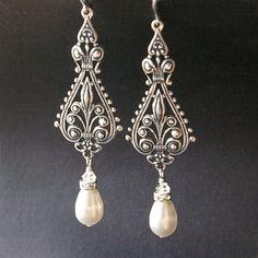 Vintage Bridal Earrings Silver Filigree Antiqued Chandelier Ivory White Pearl Vivienne