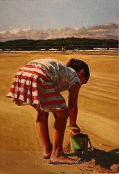 Beach Girl - Portstewart - Paintings Rest, Paintings, Play, Portrait, Children, Drawings, Beach, Young Children, Painting Art