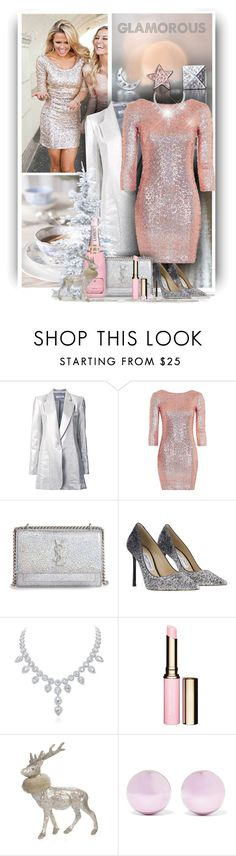 """Glamorous"" by christiana40 ❤ liked on Polyvore featuring Bianca Spender, Topshop, Yves Saint Laurent, Jimmy Choo, Clarins, Sherri's Designs, J.W. Anderson and polyvoreeditorial"