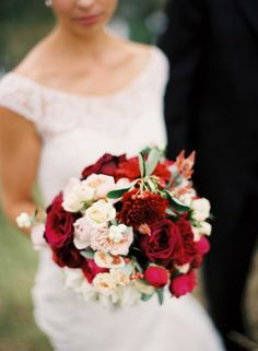 Keep it cranberry! Shades of maroon, soft pinks and whites... these beautiful flowers make up the perfect winter wedding bouquet.