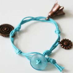 Button and Cord Bracelet with Charms