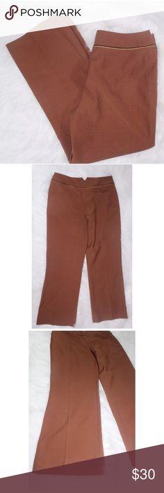 BLUMARINE 100% Virgin Wool Brown BLUMARINE 100% Virgin Wool Brown Dress Slacks Made In Italy Sz Us 10 Retro Vtg.C     •Inseam 28 inches •Waist 16 inches •100% Virgin Wool •Made in Italy •Ruffle detail around waist •Trouser Cut Blumarine Pants Trousers