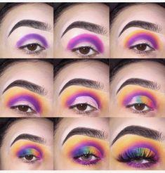 Eye Makeup Steps, Makeup Eye Looks, Eye Makeup Art, Bright Eye Makeup, Colorful Eye Makeup, Baddie Makeup, Sexy Makeup, Makeup Morphe, Makeup Pictorial