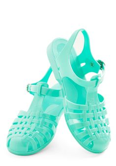 Remember Jelly Shoes? I used to get a pair every summer! 'Tis the Season to be Jelly Sandal in Mint, #ModCloth