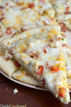 A spot on copycat Papa Murphy's Garlic Chicken Pizza, with homemade ranch sauce