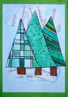 More cute holiday art projects for school Diy Christmas Cards, Christmas Crafts For Kids, Xmas Cards, Christmas Art, Advent Art Projects, Winter Art Projects, Tapas, Christmas Mosaics, Card Drawing
