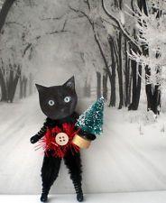 Gato Negro Estilo Vintage Navidad Chenille Adornos