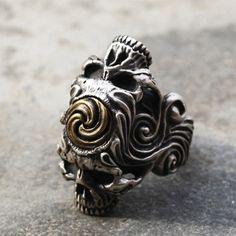 925 Sterling Silver Korean Taegeuk 3 Skull by 925SilverPetrichor, $290.00
