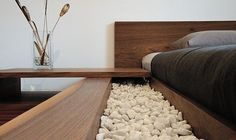 Bed surrounded by pebbles Cool Stuff, Create, Bed, Nature, Home, Design, Style, Cool Things, Stream Bed