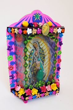 Virgen Lady of Guadalupe lamp box / Mexican folk art / Rainbow colorful NEON / Virgin Mary Kitsch from Mexico