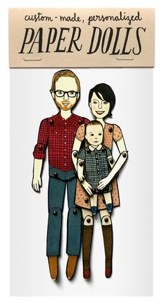 Mother's Day Gifts that Are Not Stupid | Mighty Girl: You could send 300 emails to arrange a family portrait, or you could have the whole family done up as custom paper dolls ($35).